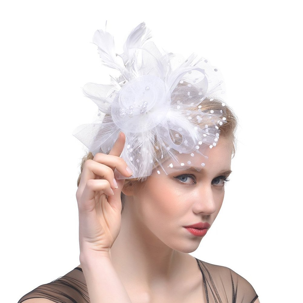 DRESHOW Fascinators Hat Flower Mesh Ribbons Feathers on a Headband and a Clip Tea Party Headwear for Girls and Women