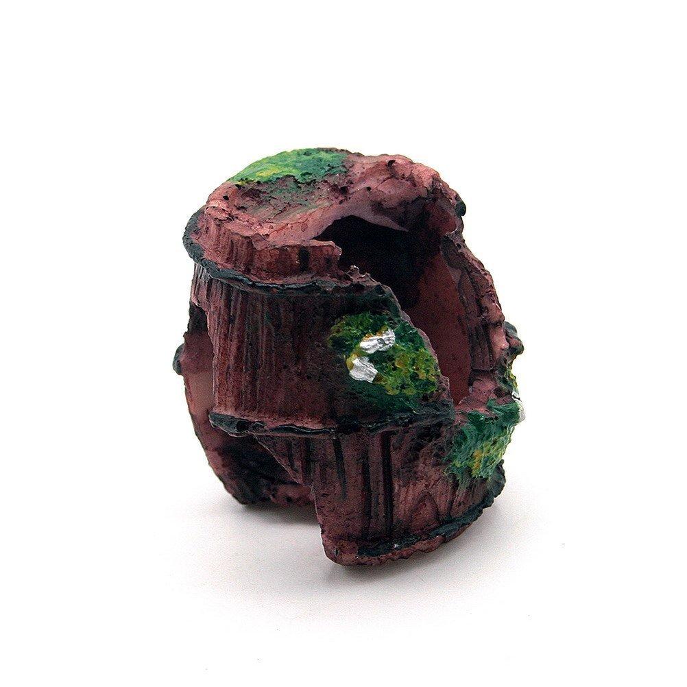 Romote Dimart Verde & rosso scuro acquario Fish Tank resina rotto Barrel Cave Ornamento paesaggistica Decoration Fish Tank