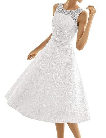 34ba38659d1 HUINI Robe Dentelle Femme Soirée Cérémonie sans Manche Robe Princesse pour  Mariage Invité Mi-Longue  Amazon.fr  Vêtements et accessoires