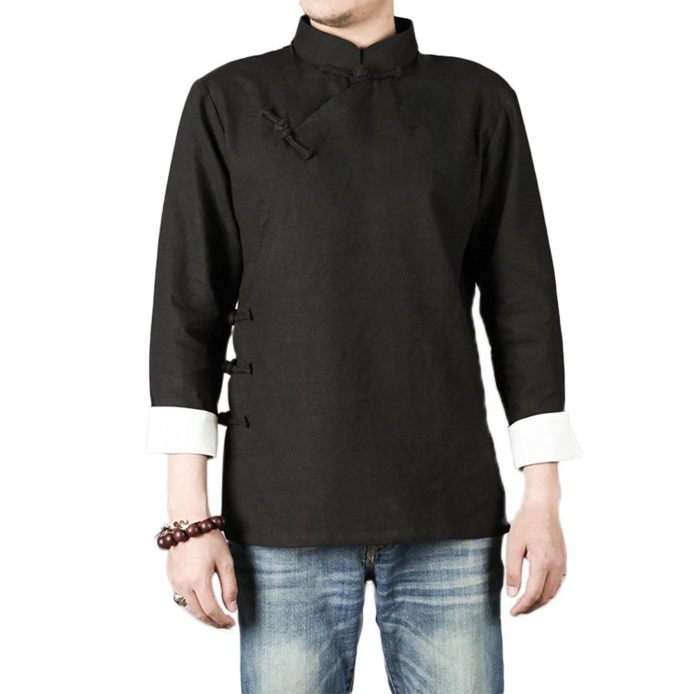 KIKIGOAL Chinese Traditional Uniform Top KungFu Shirt for Men (L, black)