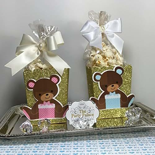 Amazon.com: Gold Glitter 10 Mini Popcorn Box Party Favors, Popcorn Boxes, Baby shower Teddy Bear ...