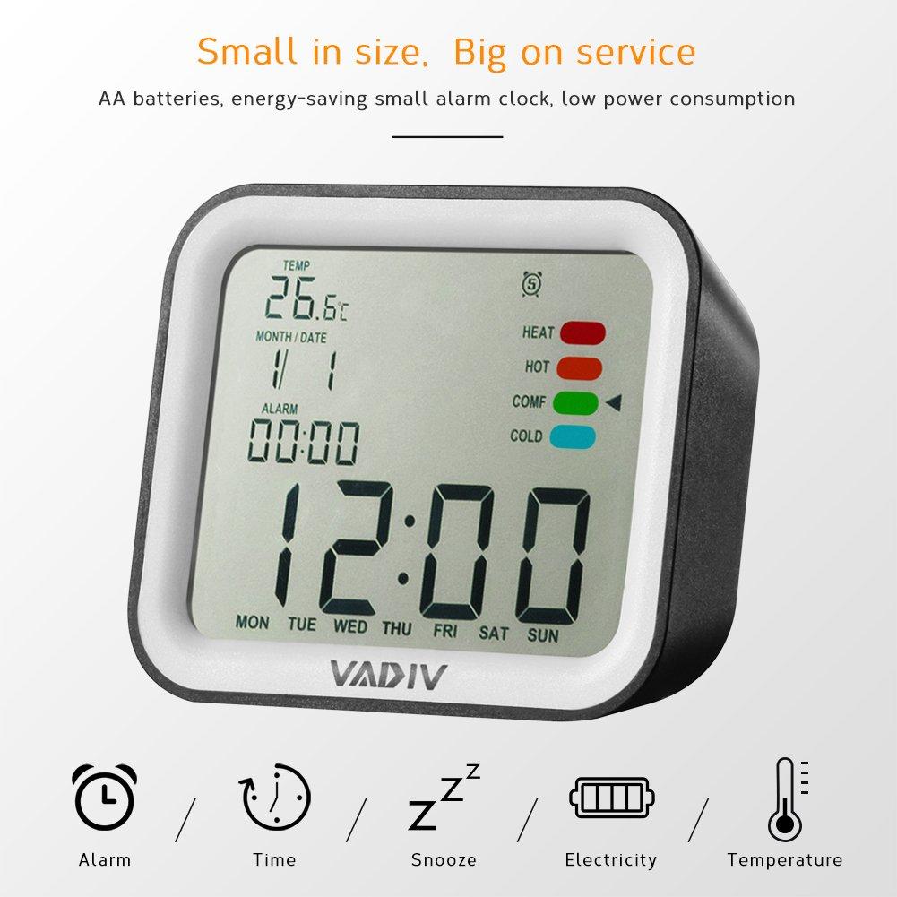 VADIV Sveglia da Viaggio Digitale Portatile CL07 Orologio Digitale Funzione,Allarmi Programmabili,Display LCD Tempo Data Temperatura Funzione Snooze Misuratore per Adulti,Bambini,Adolescenti Nero