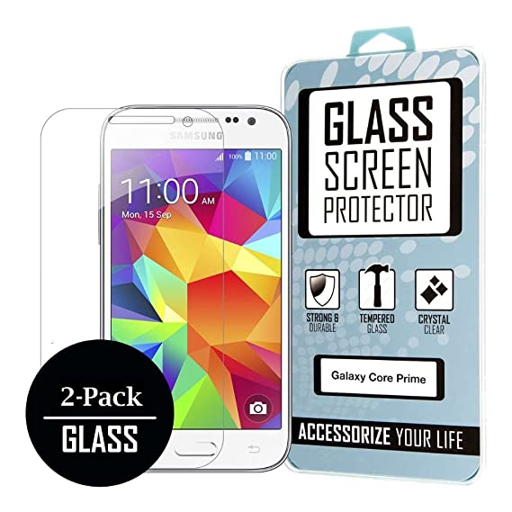 sale retailer f1d5a 50112 Samsung Galaxy Core Prime / Galaxy Prevail LTE [2-Pack] Tempered GLASS  Screen Protector Covers, Bubble Free Oleophoic Coated Tempered GLASS - MPERO