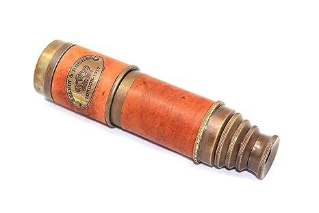 Helpful Sun Cap Telescope Glass Lens 15 X Brass Handmade Collectible Gift Elder Spyglass Selected Material Maritime Compasses