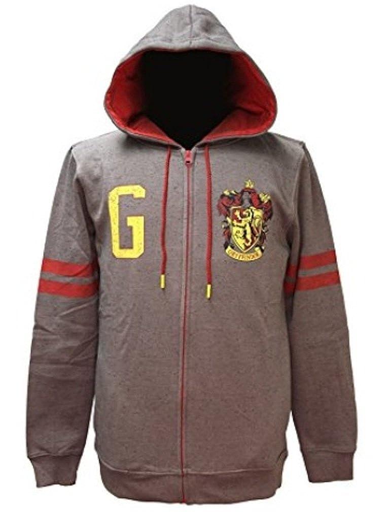 Harry Potter Gryffindor House Crest Grey Fleece Hoodie Zip Adult Licensed SM-XL