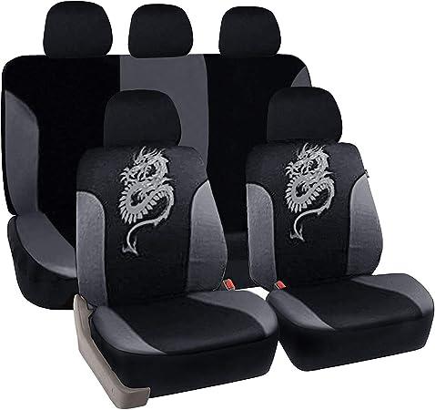 Esituro Universal Auto Schonbezug Komplettset Sitzbezüge Für Auto Mit Drache Muster Schwarz Grau Scsc0028 Auto