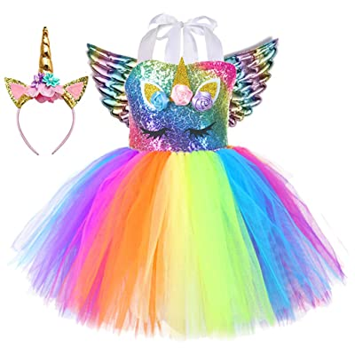 Tutu Dreams Unicorn Costume for Girls 1-12Y with Headband 5 Designs Birthday Party Gifts: Clothing