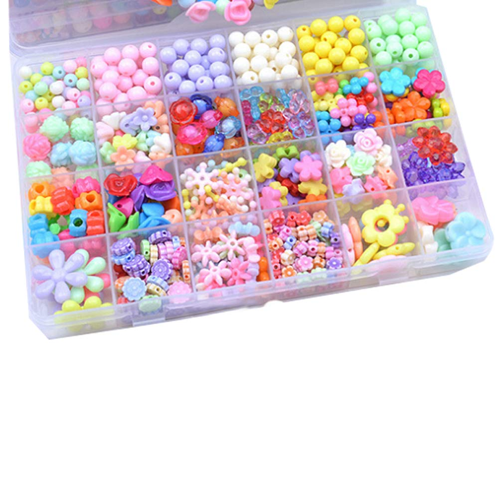 Flower Fairy/ï/¼/‰ DIY Beads Set Necklace Bracelet Jewelry Making Crafts Kits Beaded Toys with Box and Coil for Kid 500pcs