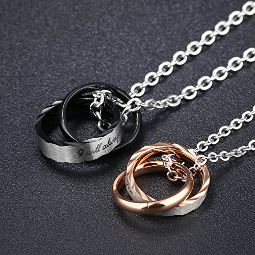 Fate Love ''I will always be with you''Romantic Love Forever Pendant Necklaces Couple Matching Set for Lover by Fate Love (Image #4)
