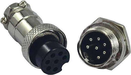 Female Metal Self Locking,1Set 7 pins Socket Connector Aviation Plug 16-7P Male