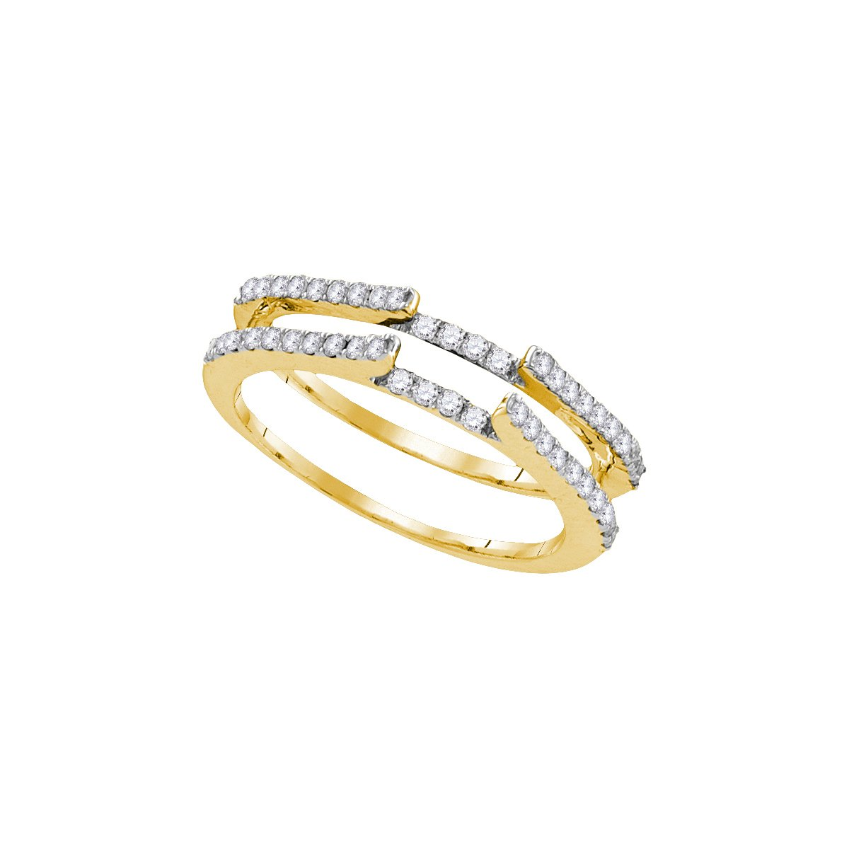 14kt Yellow Gold Womens Round Diamond Ring Guard Wrap Solitaire Enhancer 1/2 Cttw (I1-I2 clarity; H-I color)
