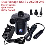 Dual Voltage DC12 / AC220-240, 2 in 1 Power Source Fast Electric Air Pump for Air Beds Toys Lilos Pools - Inflatable Airbed Inflatables Air Bed Pool | 3 Types Valve Connectors | Quick Inflator & Deflator | Absolute Heigh Power Ultimate Machine Pump | Multi Use Indoor & Outdoor can be used in Car Cigarette Socket for Camping | Quality Products by Denny International