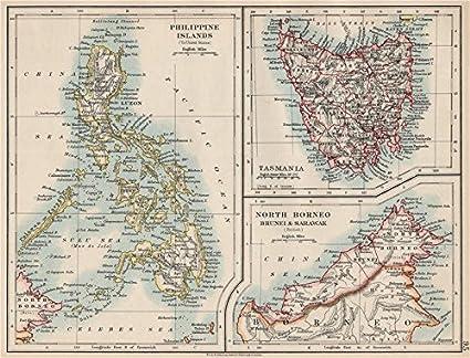 Map Of Asia Brunei.Amazon Com East Asia Philippines Tasmania North Borneo Brunei