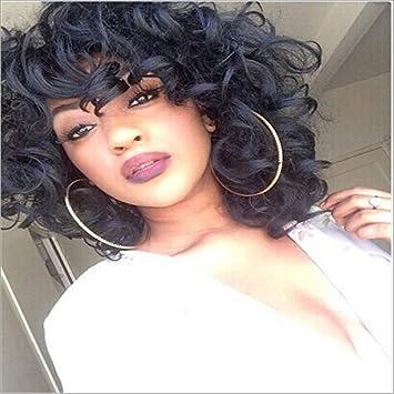 Txy Peluca Para Dama Negro Corto Pelo Rizado Peluca Química