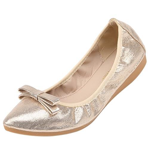Zhuomei - Mocasines de Piel sintética para Mujer, Color Dorado, Talla 38 EU: Amazon.es: Zapatos y complementos