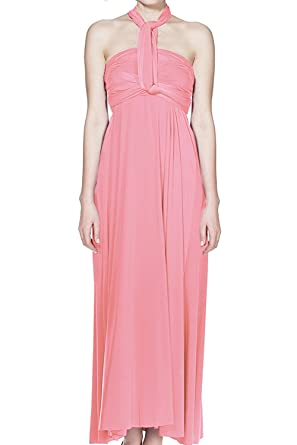 8b68774072a Women s Transformer Wrap Infinity Solid Maxi Cocktail Dress Baby Pink ...
