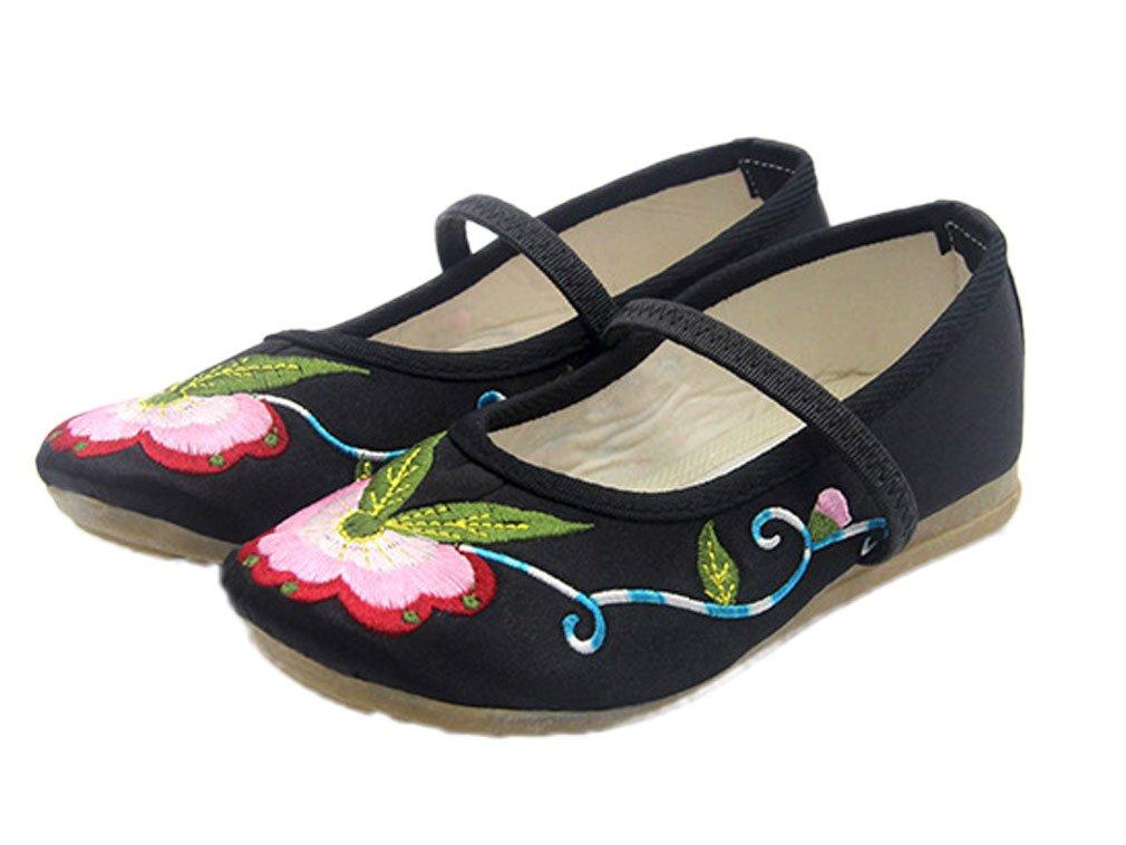 Soojun Little Kid Embroidery Oxfords Sole Elastic Mary Jane Flats, US 2.5 Black