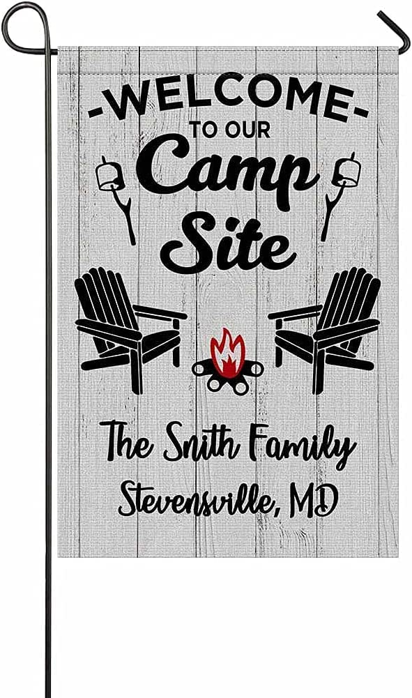 Personalized Camper Camping Garden Flag Welcome to Our Campsite Rv Flag for Outdoor Yard House Banner Home Lawn Welcome Decoration 12.5