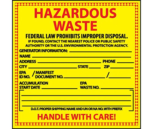 National Marker Corp. HW10ALV Labels, Hazardous Waste, Chemical Identification, 6 Inch X 6 Inch, PS Vinyl, 500/Roll by National Marker