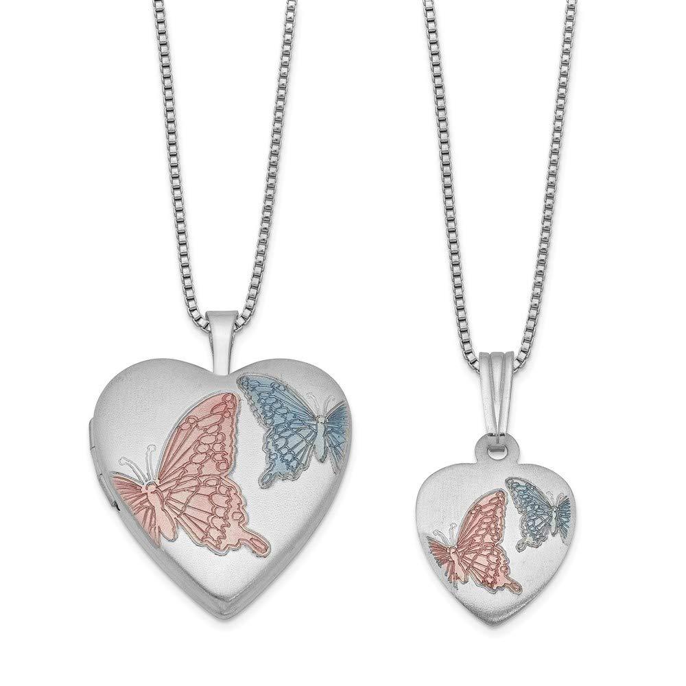 Just Like Mommy Sterling Silver Satin Finish Enamel Butterflies Design Heart Locket Pendant Necklace Set