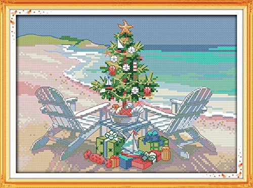 YEESAM ART® New Cross Stitch Kits Advanced Patterns for Beginners Kids Adults - Christmas Tree 11 CT Stamped 38×27 cm - DIY Needlework Wedding Christmas Gifts - Graduation Cross Stitch Patterns
