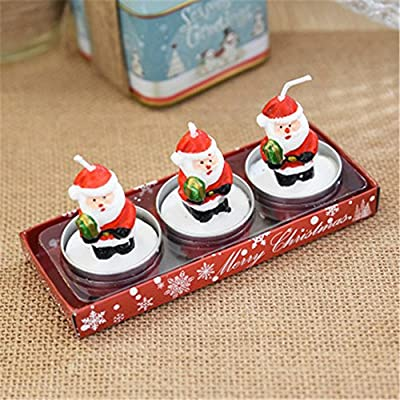 Hot Sale!DEESEE(TM)3 Christmas Candles with Santa House Snowman Xmas Party Gift Home Decor