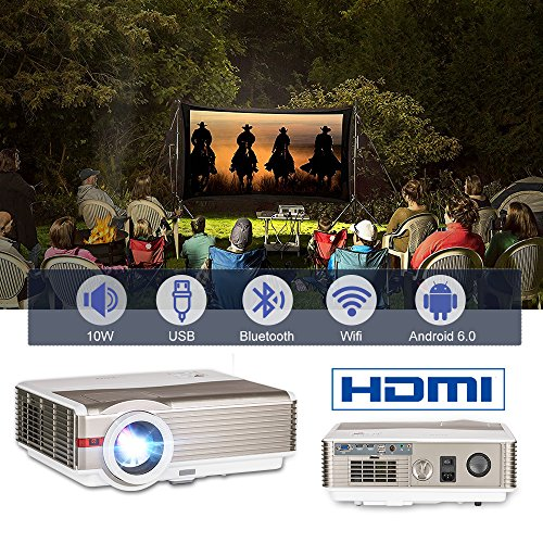 - Smart Wireless 4200 Lumen Bluetooth HD Projector Android WiFi Outdoor Home Theater Video Projector 16:9/4:3 LCD Dispaly,Multimedia HDMI USB 3.5mm Audio VGA for Laptop PC DVD Cell Phone Fire TV Stick