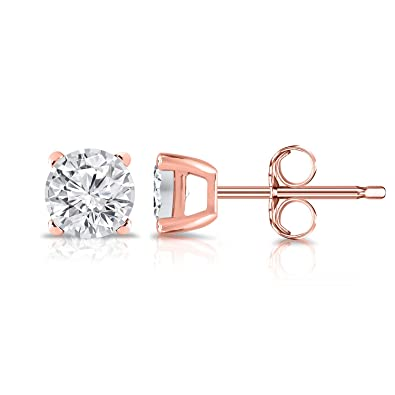 a1d6b5447 Diamond Wish 14K Gold Round Lab Created Diamond Stud Earrings (0.15-0.25  cttw, G-H Color, SI2-I1 Clarity) 4-Prong set, Push Back