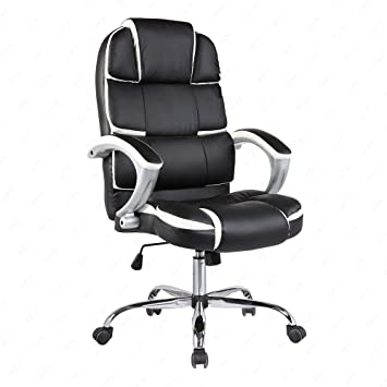 OFFICE MORE High Back Executive Office Chair PU Leather Computer Desk Task Ergonomic Black  sc 1 st  Amazon.com & Amazon.com: OFFICE MORE High Back Executive Office Chair PU Leather ...