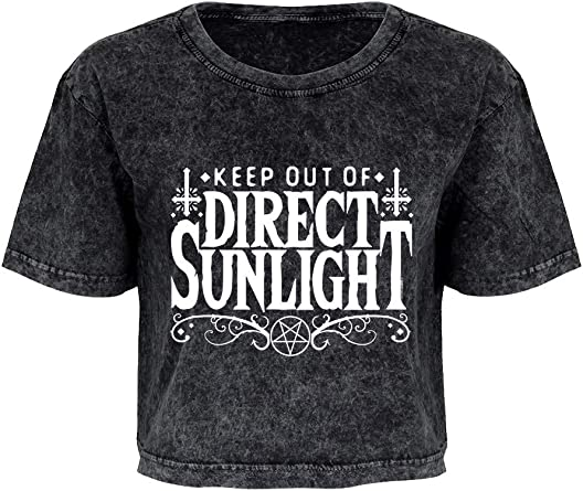 T-shirt Keep Out Of Direct Sunlight Oversized Cropped Women/'s Grey