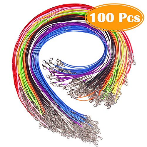 Cord Silver Circle - Paxcoo 100 Pcs 18 Inches Waxed Cotton Necklace Cord with Lobster Claw Clasp for DIY Jewelry Making, Mix Color