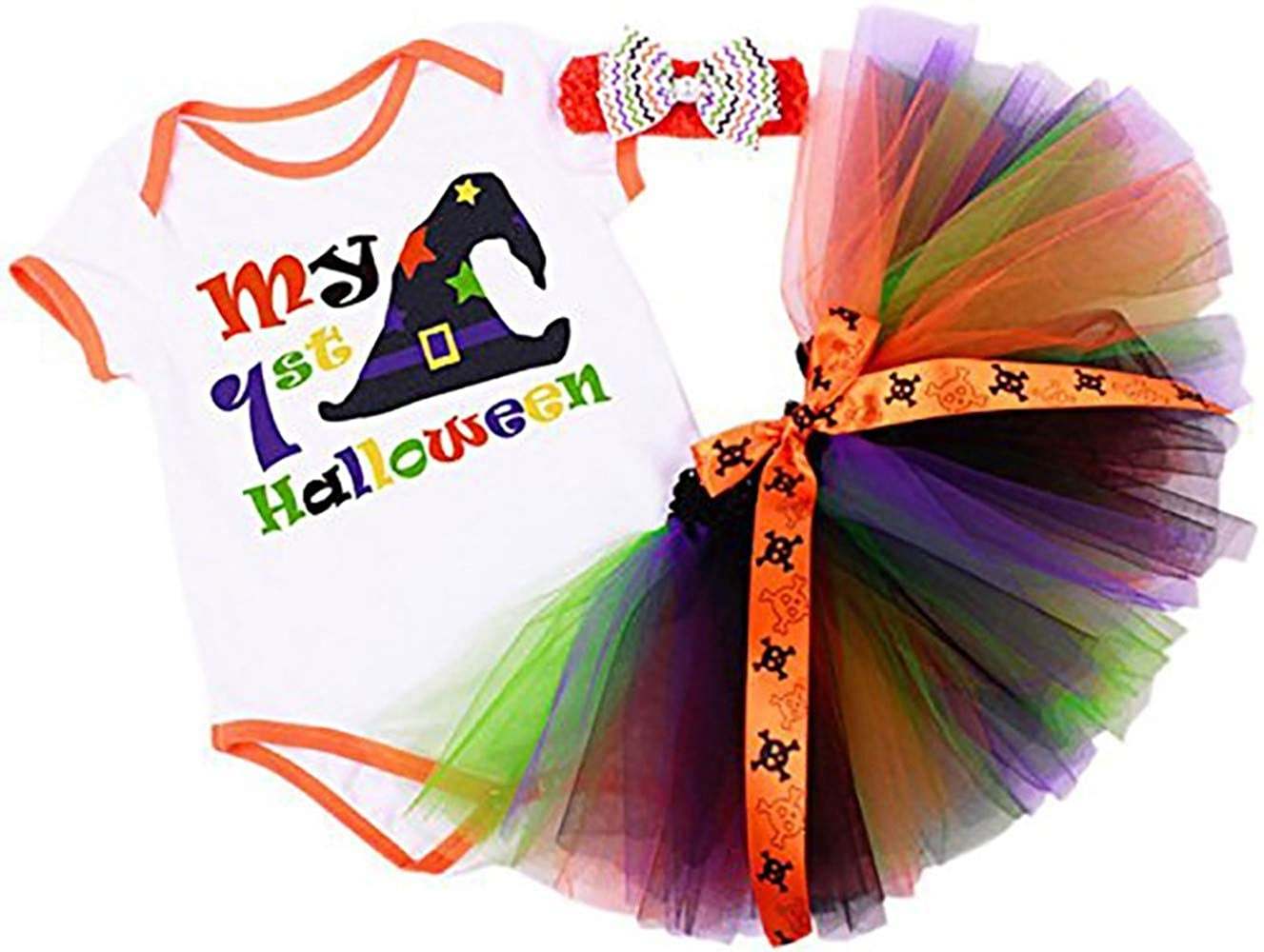 Baby Girls My 1st Halloween Multi Colourful Romper Set Newborn Fancy Dress Party Costume