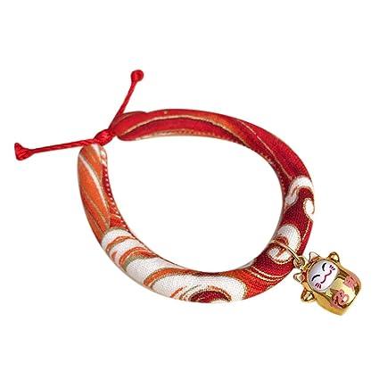 Crewell Collar con Cordón para Perro con Campana Ajustable Impreso Cachorro Collar Collares para Gatos Perros