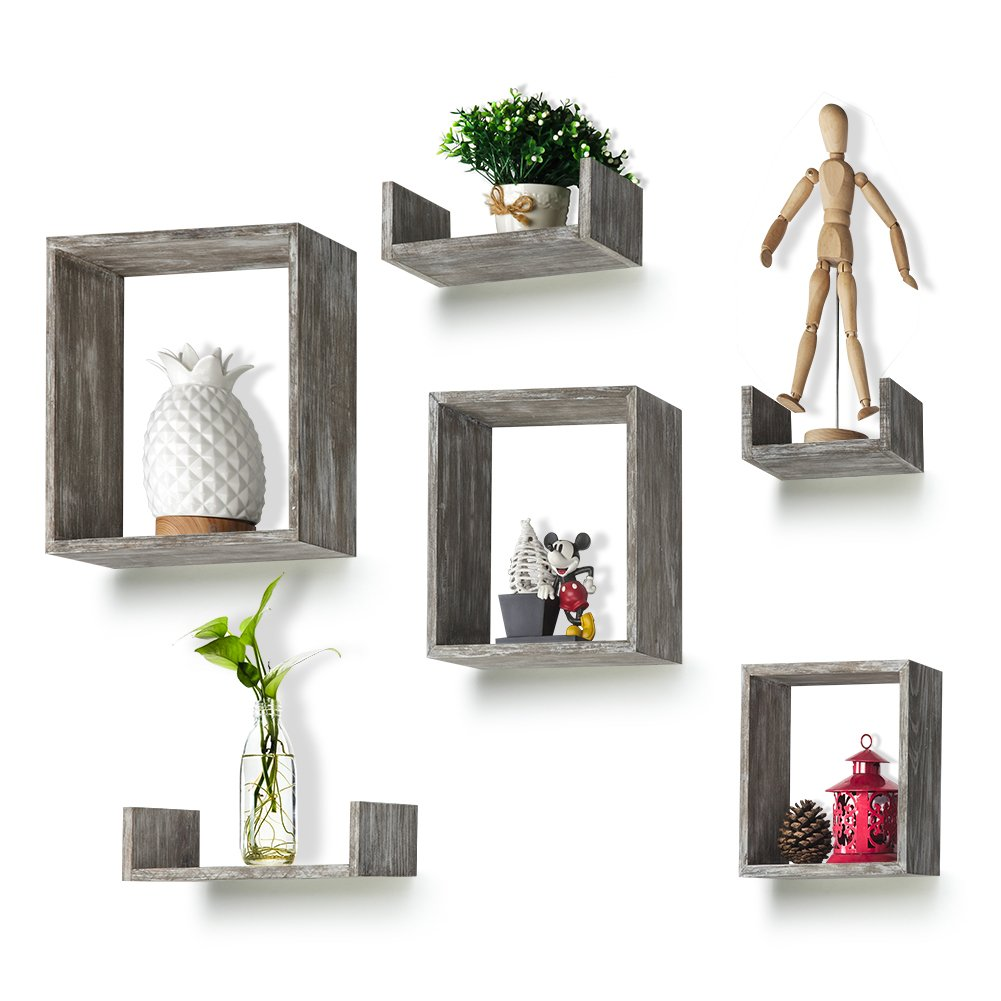 Round Rich Floating Shelves Set of 6 Rustic Wood Wall Shelves with 3 Square Boxes and 3 Small U Shelves for Free Grouping Grey