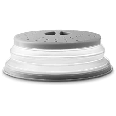 Gourmia GML9930D Collapsible Microwave Cover – Dome or Flat Bowl and Plate Lid - Prevents Food Splatter, Keeps Oven Clean - Expands from 1  to 3.5  High - Perforated for Ventilation - BPA Free