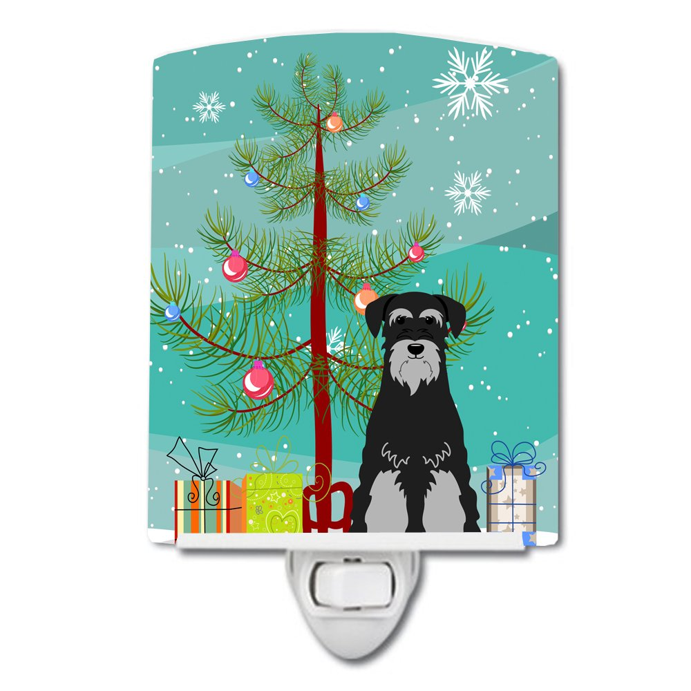 Carolines Treasures Merry Christmas Tree Standard Schnauzer Black Grey Ceramic Night Light 6x4 Multicolor