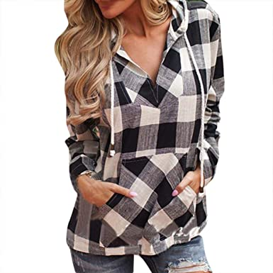 59b86cc12acfa Paymenow Shirts Women Plaid Fashion V Neck Long Sleeve Henley Casual Autumn  Winter Hoodie