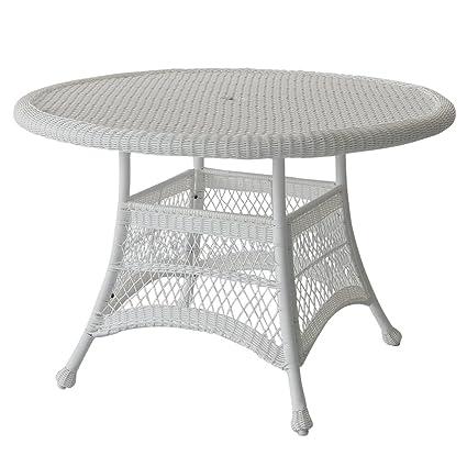 Amazoncom Jeco WDB Wicker Round Dining Table White - White wicker round dining table