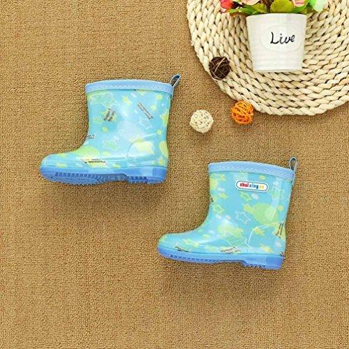 RegenSchuhe Stiefel Jamicy® Kinder Wasserdicht Kind Stern Brief Drucken Gummi Infant Regen Stiefel Regen Schuhe EU 25 26 27 28 29 Minzgrün