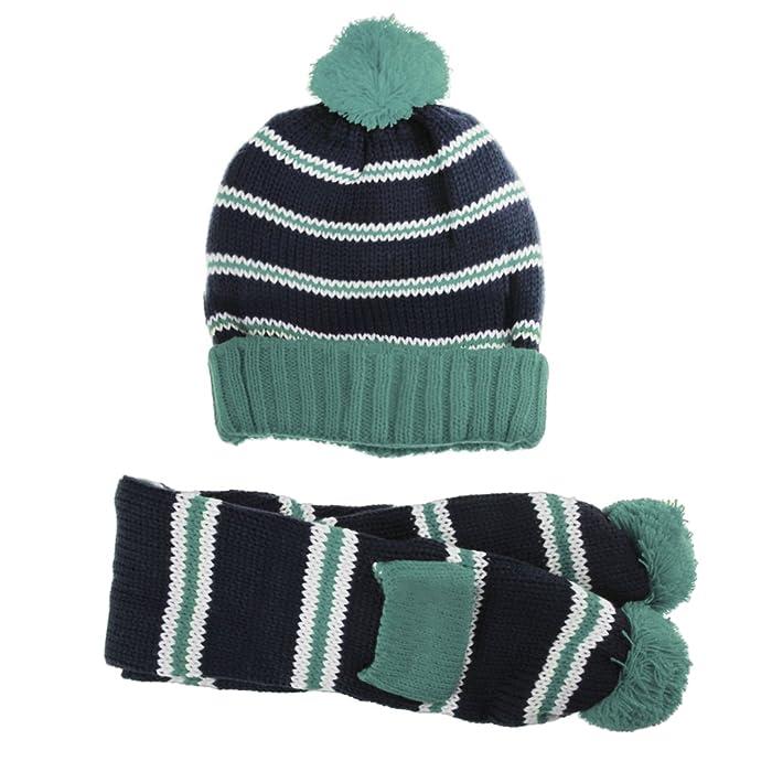 da6df963562 Boys Girls Baby Winter Warm Knitted Hat Stripe Pompom Hat and Scarf ...