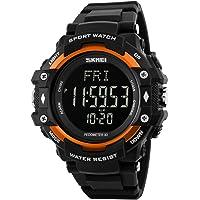 Bounabay - Reloj deportivo con podómetro y monitor de frecuencia cardíaca, pantalla LED, digital, 50 m de resistencia al agua