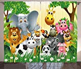 Ambesonne Kids Decor Curtains, Cute Animals in Jungle Elephant Giraffe Panda Bear Pig Lion Hippo Rhino Cartoon, Living Room Bedroom Window Drapes 2 Panel Set, 108 W X 63 L inches, Multicolor