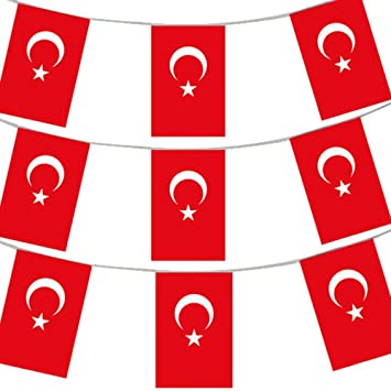 33ft 10 meters turkish flag bunting turkey party euro decoration
