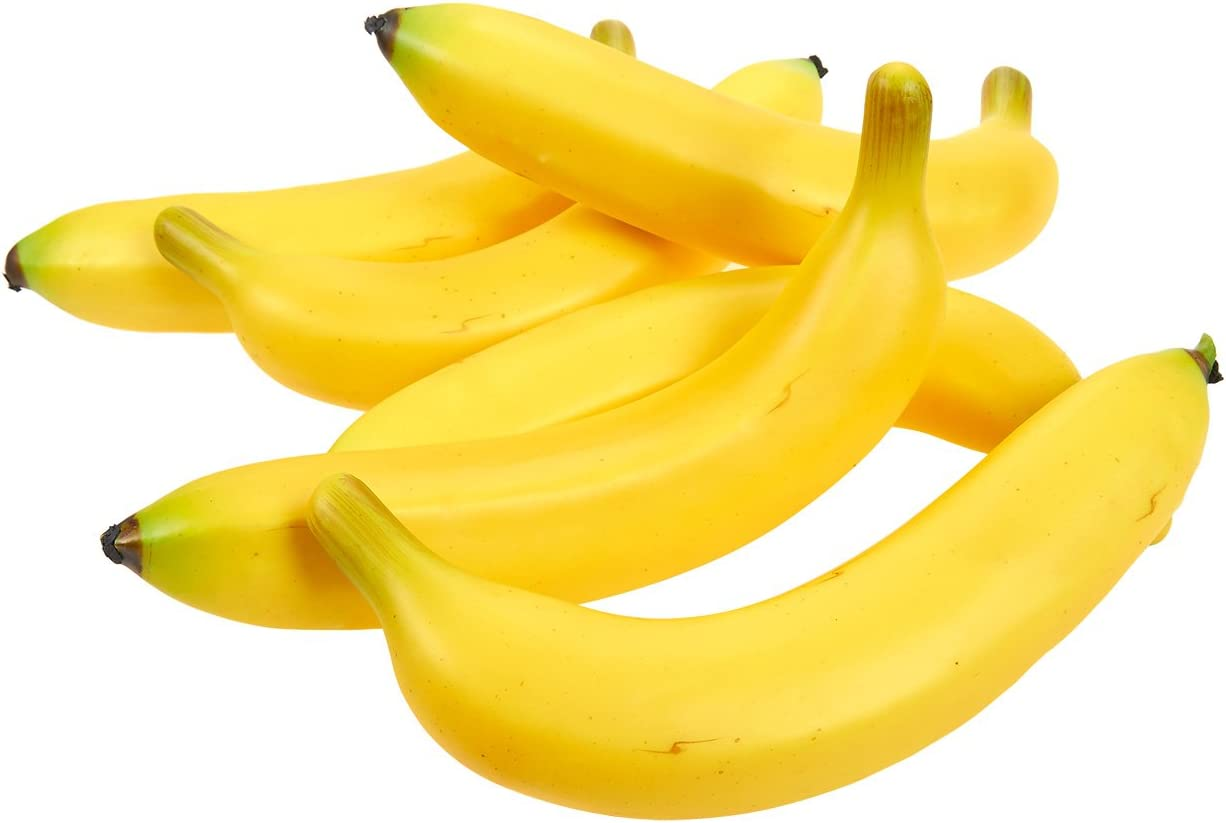 Juvale Set of 6 Individual Fake Fruit Bananas - Artificial Fruit Plastic Bananas for Still Life Paintings, Storefront Decoration, Kitchen Decor, Yellow, 8 x 3.7 x 1.5 Inches