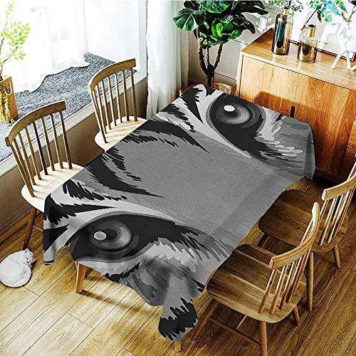 XXANS Elastic Tablecloth Rectangular,Eye,Tiger with Sharp Eyes Monochrome Wildlife Animal Illustration Felidae Carnivore,Table Cover for Dining,W54x72L Grey Black White