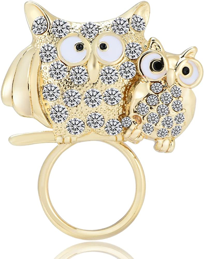 RUXIANG Crystal Owls Mother and Child Animal Bird Magnetic Glasses Holder Brooch Pin Clothes Jewelry