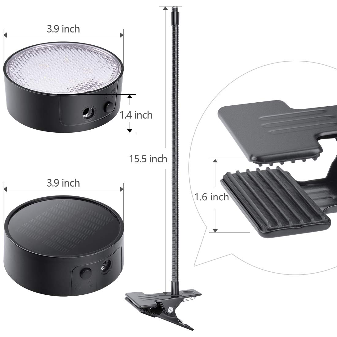LeiDrail Grill Light LED Solar BBQ Lights Super Bright Wide-Angle Barbecue Lamp Flexible Gooseneck Outdoor Waterproof Anti-Shedding Clip for Charcoal Electric Desk Work Bench by LeiDrail (Image #8)