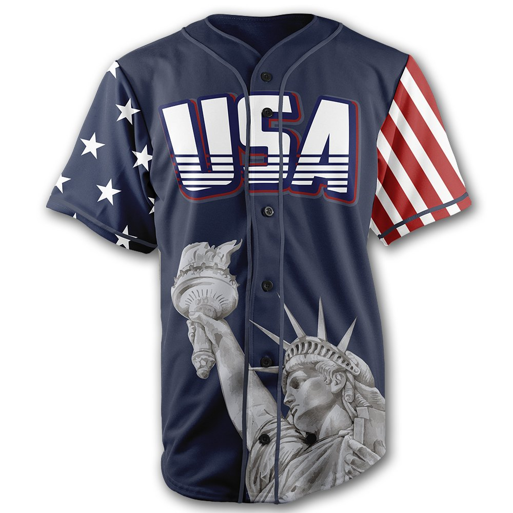 c82239b9081 Greater Half Custom Baseball Jersey Button Down USA Blue Trump  45 ...