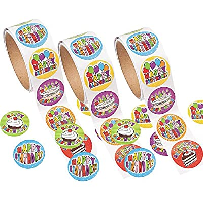 Fun Express 100 Birthday Roll Stickers (3 Pack): Kitchen & Dining