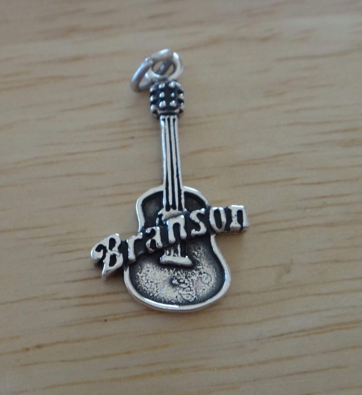 Sterling Silver 26x15mm Guitar That says Branson Missouri Charm Jewelry Making Supply, Pendant, Sterling Charm, Bracelet, Beads, DIY Crafting and Other by Wholesale Charms